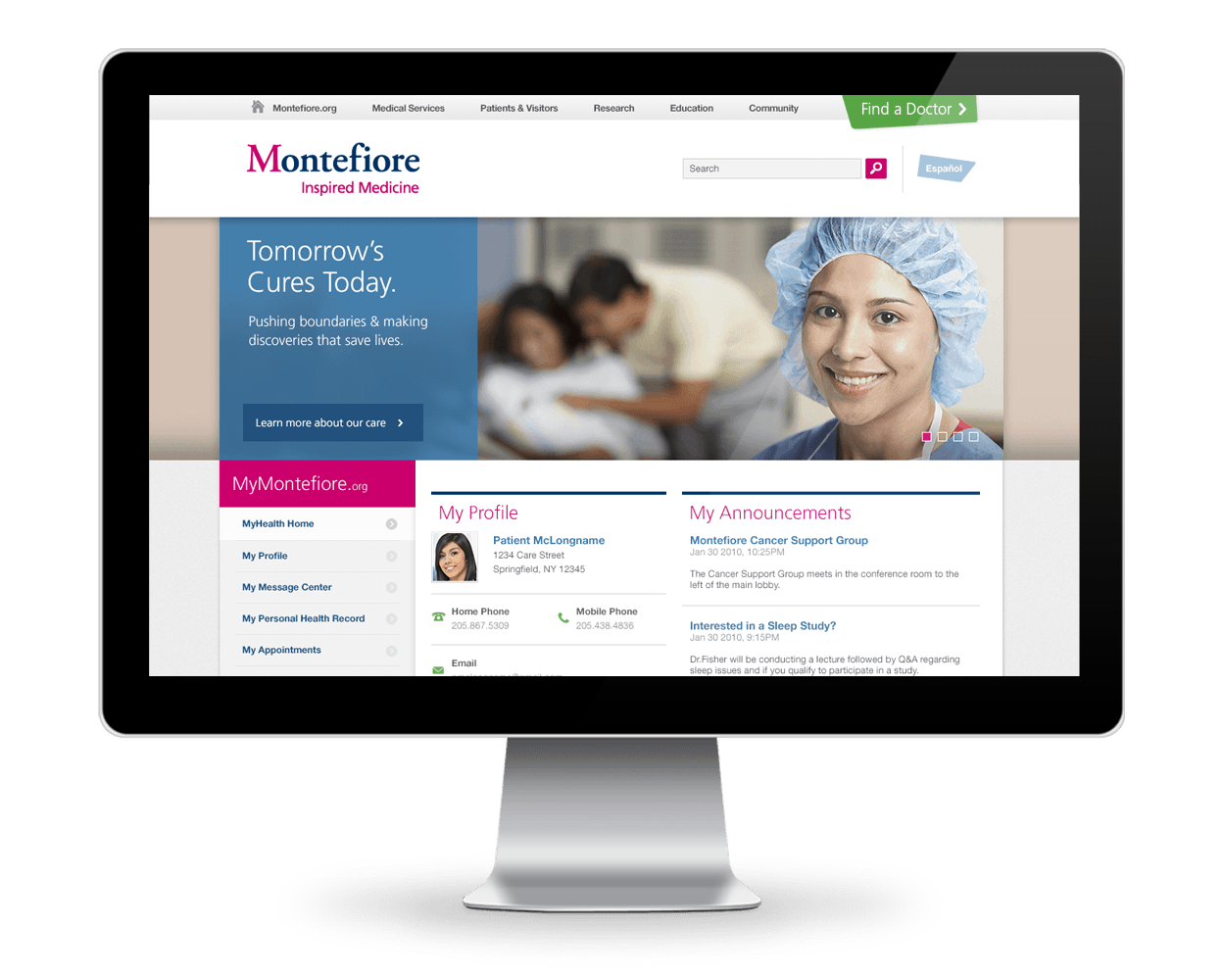Montefiore Medical Center Web Design
